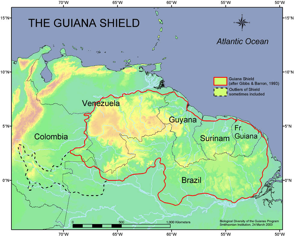 Map 1: Guiana Shield (Smithsonian Institution-BDGSP)